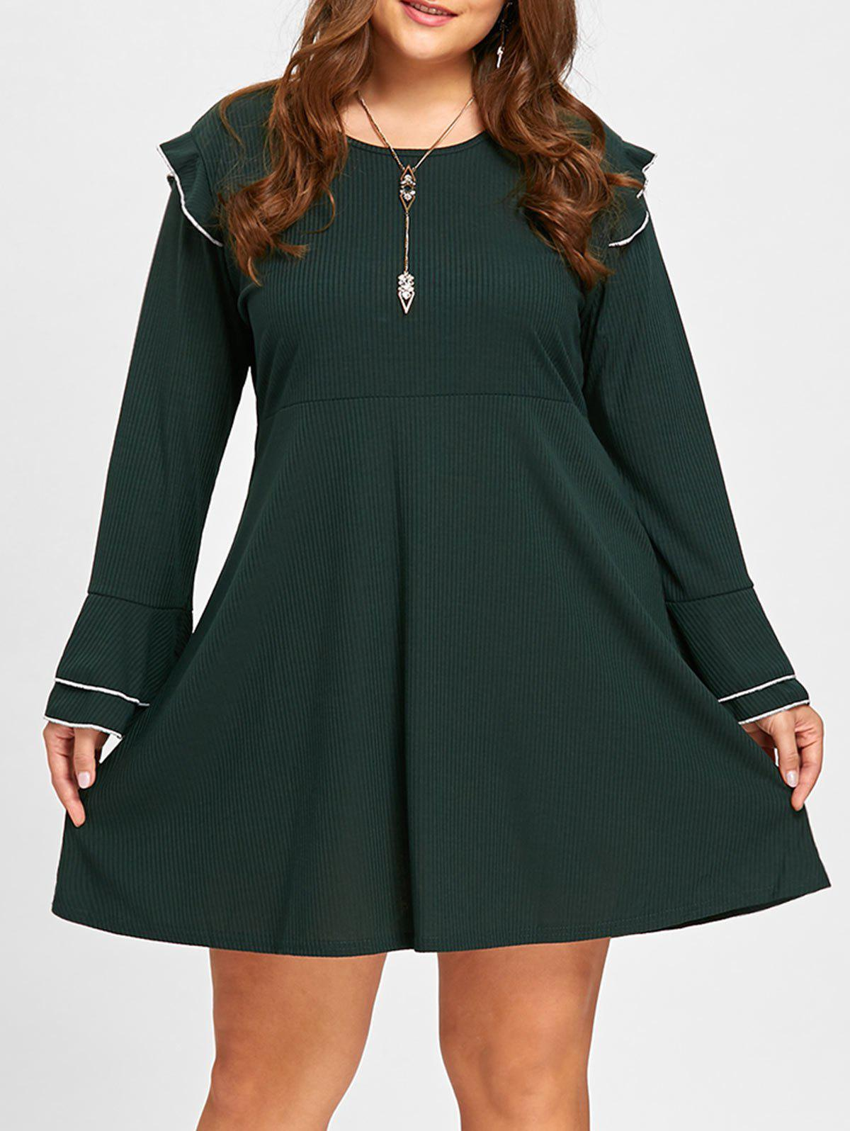 High Waist Plus Size Ruffle DressWOMEN<br><br>Size: 4XL; Color: BLACKISH GREEN; Style: Cute; Material: Polyester,Spandex; Silhouette: Straight; Dresses Length: Mini; Neckline: Round Collar; Sleeve Length: Long Sleeves; Pattern Type: Others; With Belt: No; Season: Fall,Spring; Weight: 0.4600kg; Package Contents: 1 x Dress;