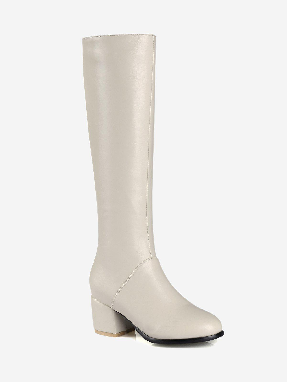 New Faux Leather Chunky Heel Knee High Boots