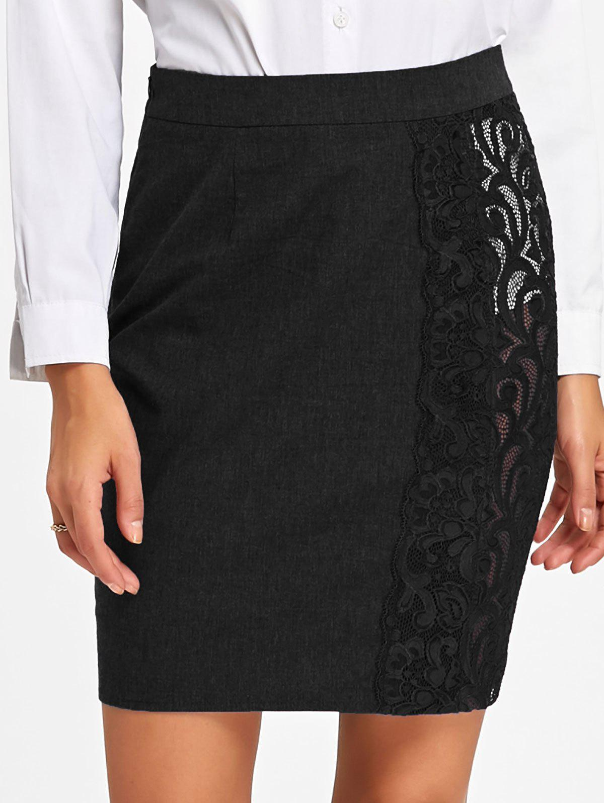 Store High Waist Slim Fit Lace Trim Skirt