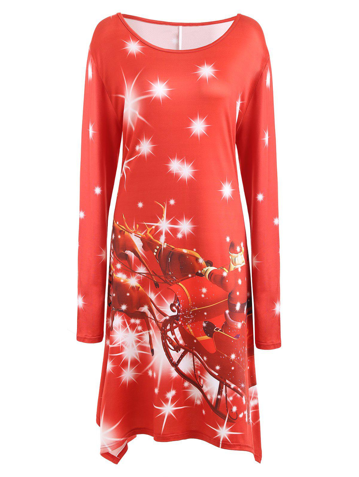 Plus Size Christmas Santa Printed Long Sleeve T-shirt DressWOMEN<br><br>Size: 3XL; Color: RED; Style: Casual; Material: Cotton Blend,Polyester; Silhouette: A-Line; Dresses Length: Knee-Length; Neckline: Round Collar; Sleeve Length: Long Sleeves; Pattern Type: Print; With Belt: No; Season: Fall,Winter; Weight: 0.3300kg; Package Contents: 1 x Dress;
