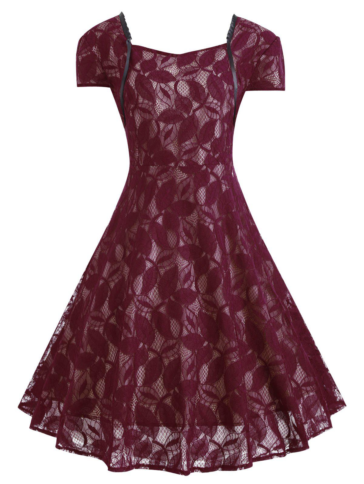 Plus Size V Back Lace Midi Vintage Party DressWOMEN<br><br>Size: XL; Color: WINE RED; Style: Vintage; Material: Lace,Polyester; Silhouette: Ball Gown; Dresses Length: Mid-Calf; Neckline: Sweetheart Neck; Sleeve Type: Cap Sleeve; Sleeve Length: Short Sleeves; Waist: High Waisted; Embellishment: Vintage; Pattern Type: Solid Color; With Belt: No; Season: Fall,Winter; Weight: 0.4300kg; Package Contents: 1 x Dress;