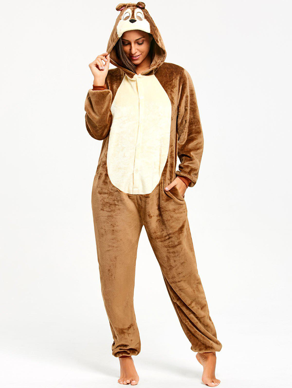 Funny Chipmunk Animal Onesie Pajama for WomenWOMEN<br><br>Size: M; Color: LIGHT BROWN; Material: Polyester; Pattern Type: Animal; Weight: 0.5100kg; Package Contents: 1 x Pajama;