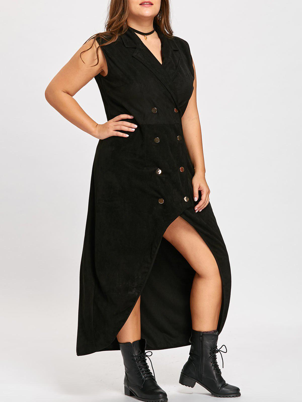 Plus Size Double Breast High Low Long Trench CoatWOMEN<br><br>Size: 5XL; Color: BLACK; Clothes Type: Trench; Material: Cotton Blends,Polyester; Type: Asymmetric Length; Shirt Length: X-Long; Sleeve Length: Sleeveless; Collar: Lapel; Closure Type: Double Breasted; Pattern Type: Solid; Style: Fashion; Season: Fall; Weight: 0.7500kg; Package Contents: 1 x Coat;