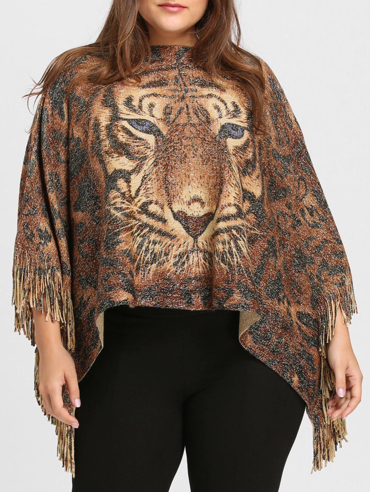 Trendy Tiger Printed Glitter Fringed Plus Size Poncho Sweater