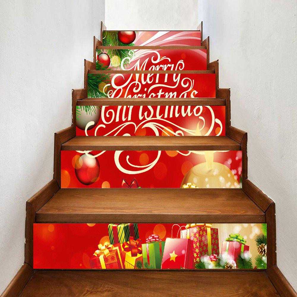 Christmas Presents Pattern Decorative Stair StickersHOME<br><br>Size: 100*18CM*6PCS; Color: RED; Wall Sticker Type: Plane Wall Stickers; Functions: Stair Stickers; Theme: Christmas; Pattern Type: Ball,Plant; Material: PVC; Feature: Removable; Weight: 0.3500kg; Package Contents: 1 x Stair Stickers;