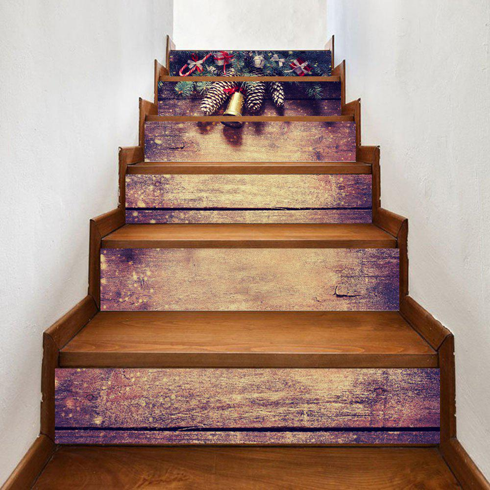 Christmas Pine Woodgrain Pattern Decorative Stair StickersHOME<br><br>Size: 100*18CM*6PCS; Color: DUN; Wall Sticker Type: Plane Wall Stickers; Functions: Stair Stickers; Theme: Christmas; Pattern Type: Plant,Wood Grain; Material: PVC; Feature: Removable; Weight: 0.3500kg; Package Contents: 1 x Stair Stickers;