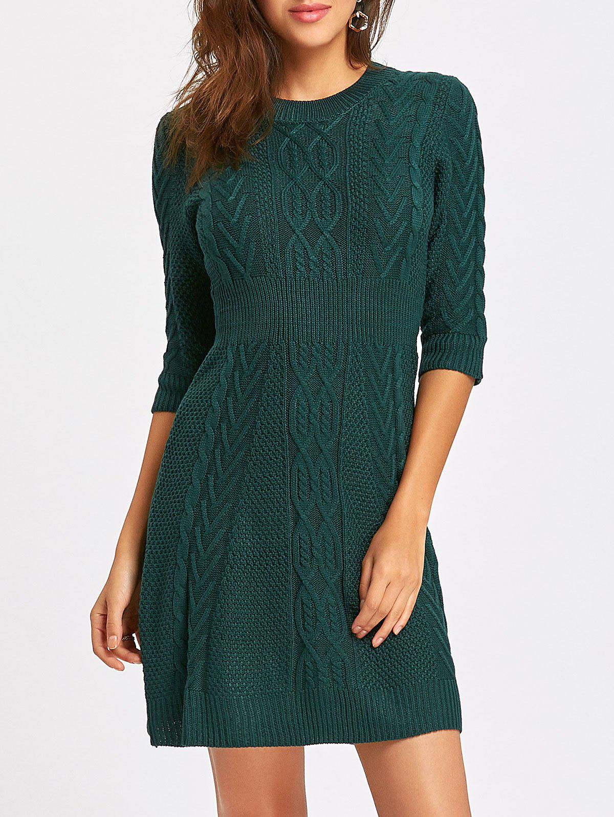 Latest Cable Knitted Crew Neck Mini Dress