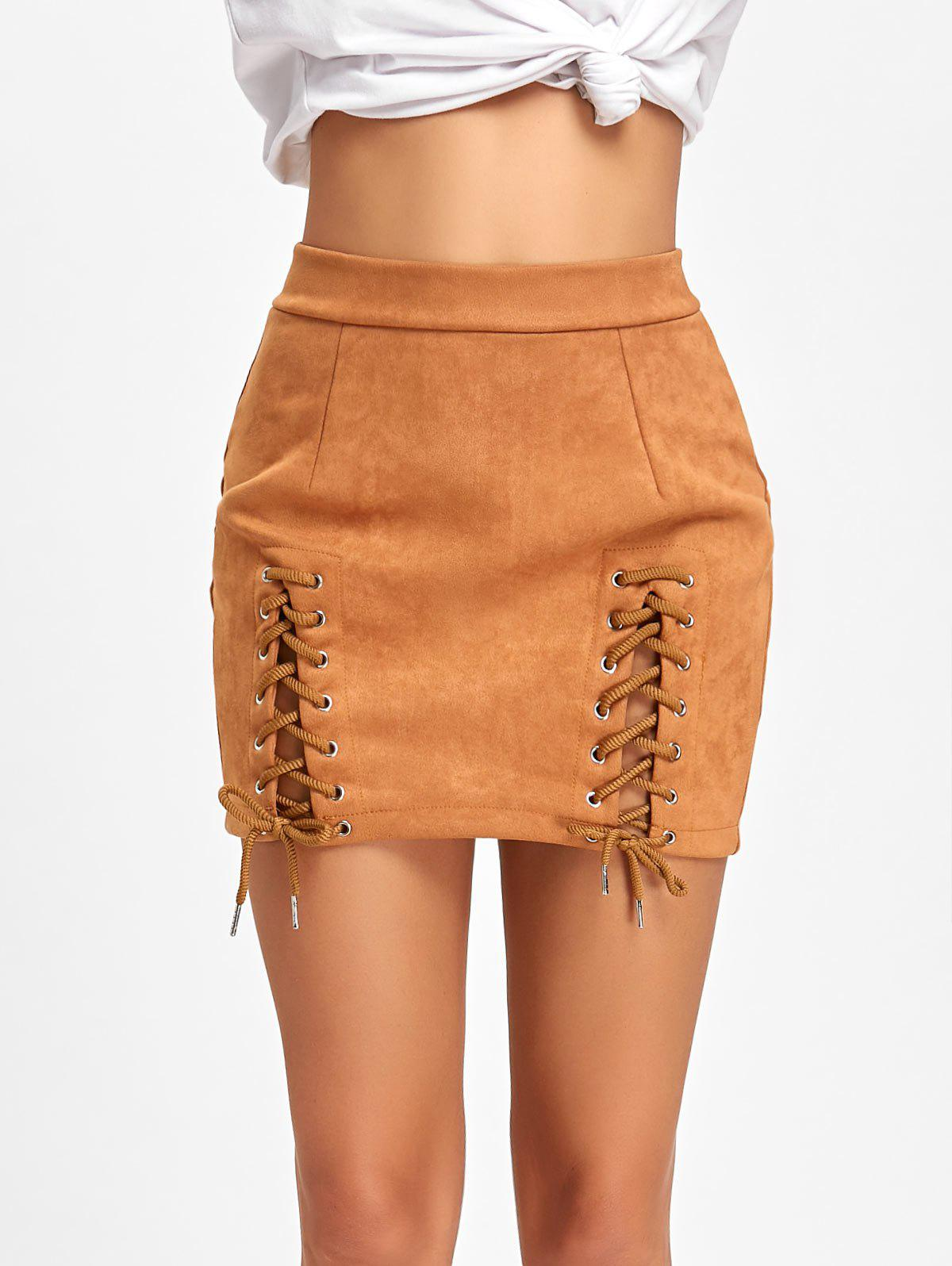 Hot Lace Up Faux Suede Mini Skirt