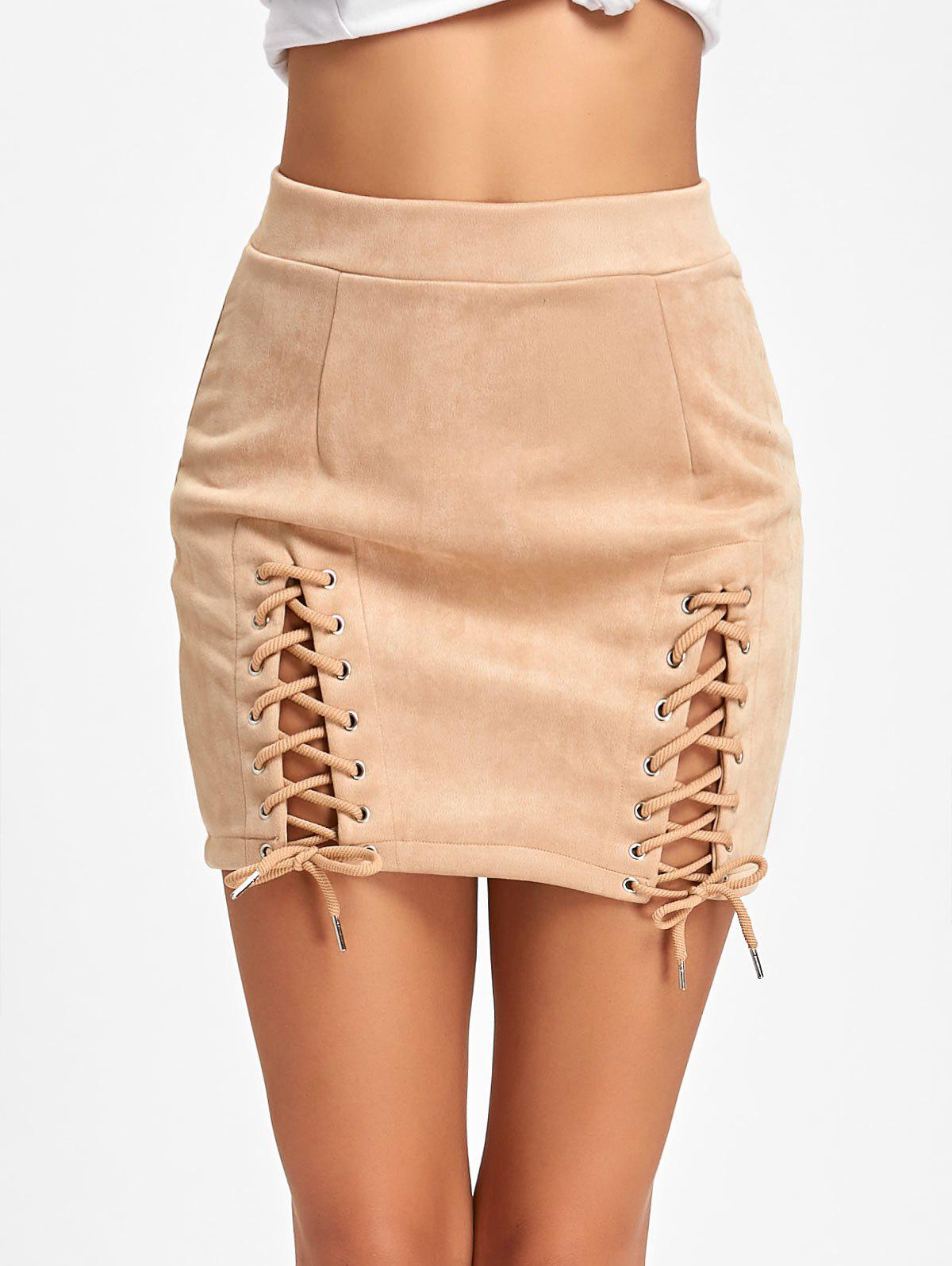 New Lace Up Faux Suede Mini Skirt