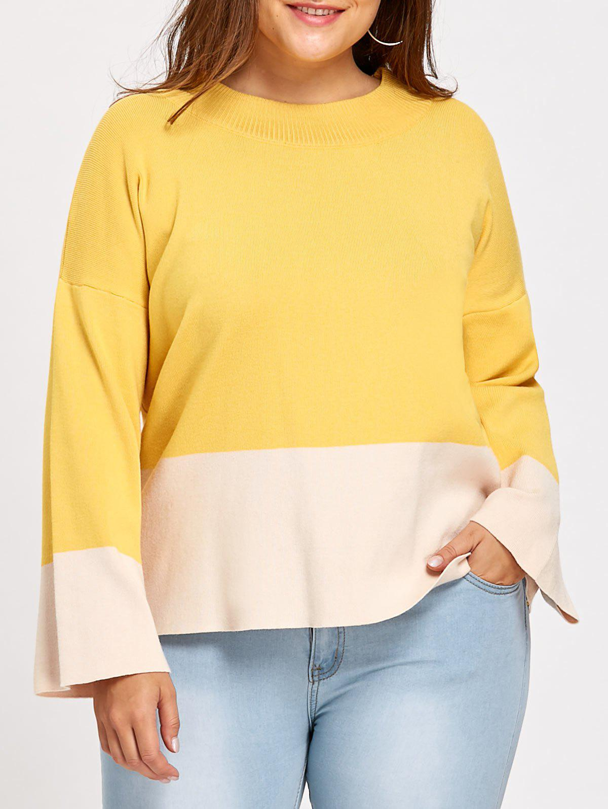 Color Block Plus Size Mock Neck SweaterWOMEN<br><br>Size: XL; Color: YELLOW; Type: Pullovers; Material: Cotton,Polyester; Sleeve Length: Full; Collar: High Collar; Style: Fashion; Season: Fall,Winter; Pattern Type: Others; Weight: 0.5200kg; Package Contents: 1 x Sweater;