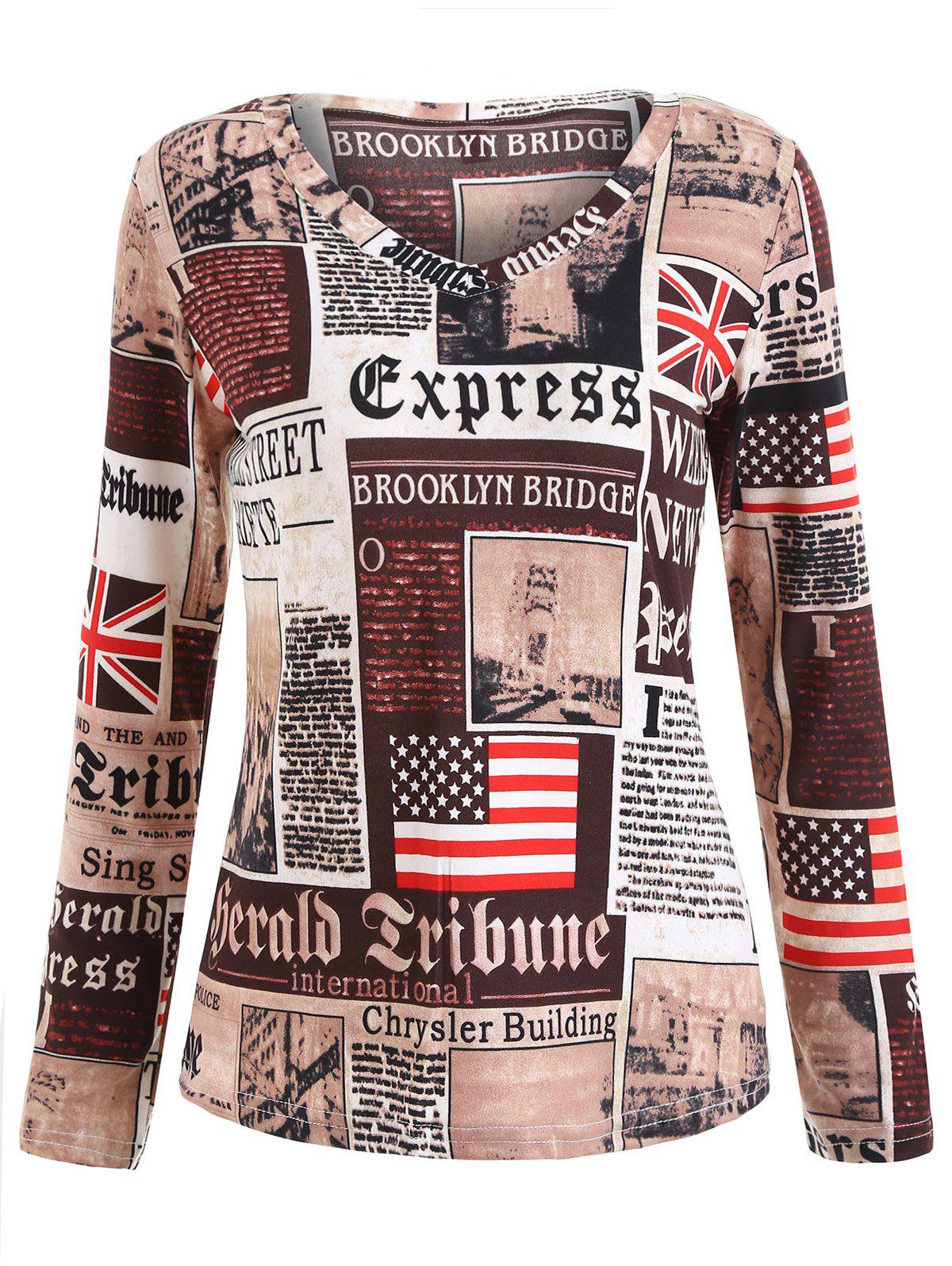 Long Sleeve Newspaper Print TeeWOMEN<br><br>Size: M; Color: MULTI; Material: Polyester; Shirt Length: Regular; Sleeve Length: Full; Collar: V-Neck; Style: Fashion; Pattern Type: Print; Season: Fall,Spring; Weight: 0.2000kg; Package Contents: 1 x T-shirt;