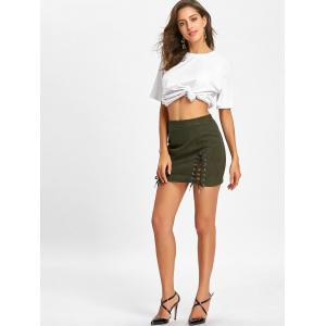 Lace Up Faux Suede Mini Skirt -