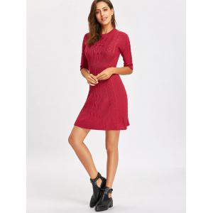 Cable Knitted Crew Neck Mini Dress -