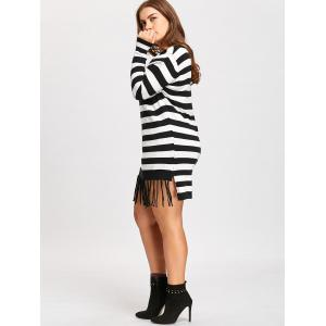 Long Striped Plus Size Pocket Fringe Sweater -