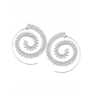 Vintage Hollow Out Embellished Tribal India Spiral Stud Earrings -