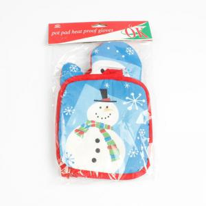 Christmas Snowman Pattern Oven Glove and Pad -