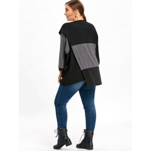 Plus Size Color Block Dolman Sleeve Loose Sweater -