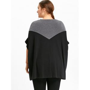 Black One Size Plus Size Dolman Sleeve Two Tone Boyfriend Sweater ...