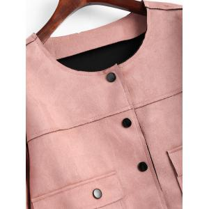 Button Up Plus Size Faux Suede Jacket -