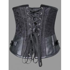 Faux Leather Panel Plus Size Lace-up Corset -