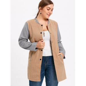 Plus Size Color Block Button Up Coat -