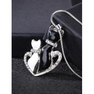Rhinestone Heart Kitten Collarbone Pendant Necklace -