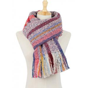 Outdoor Multicolor Striped Pattern Embellished Fringed Long Scarf -