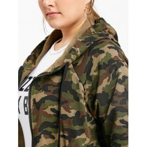 Camouflage Zip Up Plus Size Hooded Jacket -