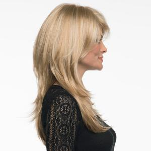 Long Side Bang Layered Fluffy Straight Human Hair Wig -