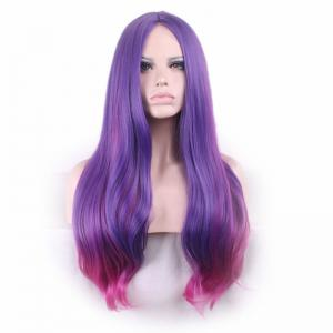 Long Center Parting Straight Party Colormix Synthetic Wig -