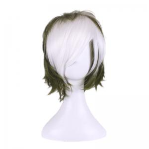Short Side Bang Two Tone Layered Slightly Curly Synthetic Cosplay Wig -