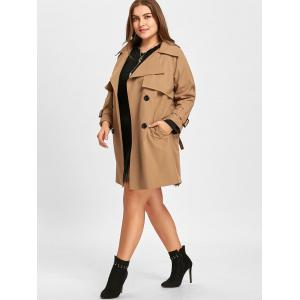 Long Plus Size Double Breasted Coat -
