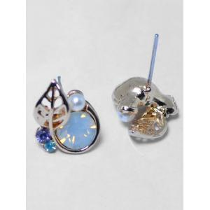 Faux Pearl Rhinestone Tiny Leaf Stud Earrings -