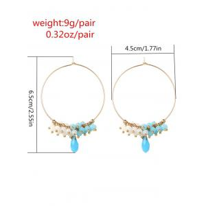 Alloy Circle Beaded Hoop Earrings -