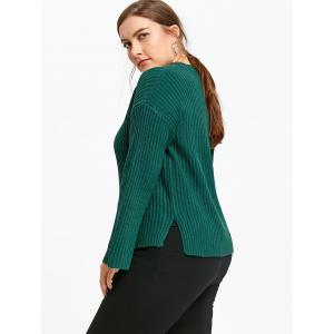 Ribbed Plus Size Cold Shoulder Sweater -