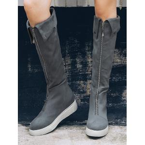Fold Over Zip Front Mid Calf Boots -
