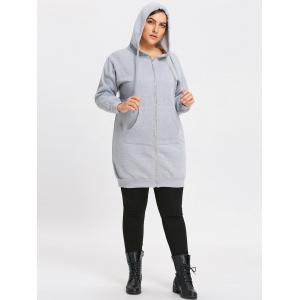Plus Size Long Hooded Coat with Pocket -
