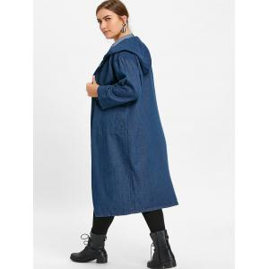 Plus Size Longline Denim Coat with Hooded -