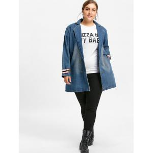 Manteau en denim à col long et grande taille -
