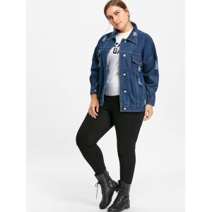Plus Size Distressed Wash Denim Jacket -