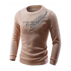 Crew Neck Feather Embroidery Sweater -