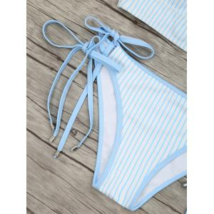 Striped Tie Side Lace-up Bikini Set -