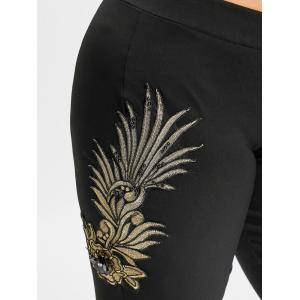 Plus Size Floral Embroidery Flare Bottom Pants -