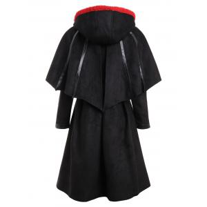 Long Plus Size Faux Suede Hooded Bat Coat -