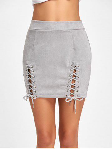 Shop Lace Up Faux Suede Mini Skirt