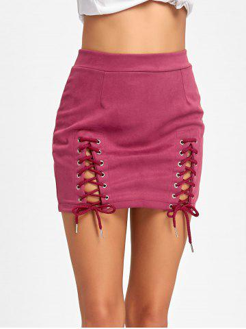 Chic Lace Up Faux Suede Mini Skirt