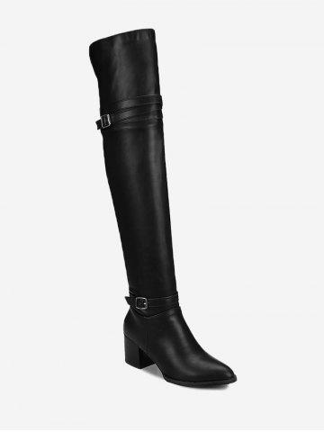 Fashion Mid Heel Buckle Strap Knee High Boots