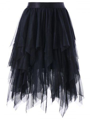 Discount Layered Asymmetrical Tulle Skirt