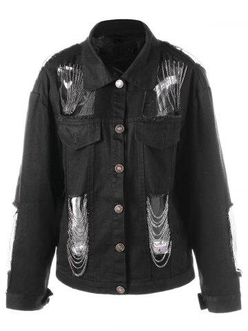 Outfit Chains Embellished Holes Jacket