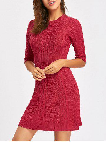 Hot Cable Knitted Crew Neck Mini Dress